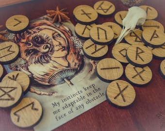 Elder Futhark, Runes, Oak wood + blank rune