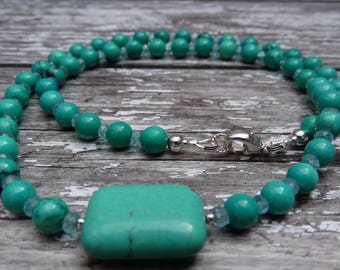 Turquoise and Apatite Handmade Gemstone Necklace and Earrings set