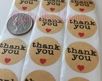 100 Kraft Thank You Stickers
