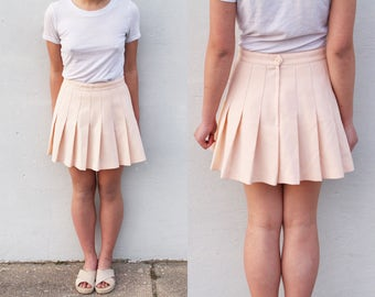 Peach School Girl Pleated Skirt Pastel Spring