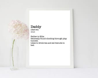 Fathers Day- Daddy Print - Customisable- Novelty