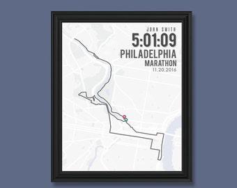 Philadelphia Marathon Print   Customizable   Running Wall Decor