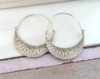 Karen hill tribe Sterling silver hoop earrings