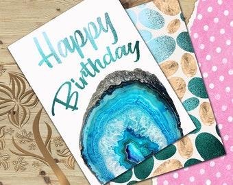 Happy birthday card Agate birthday card Blue stone digital birthday card Friend birthday card Co-worker birthday card 5x7 JPG