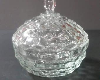American Fostoria Glass candy, trinket, nut dish with original lid.