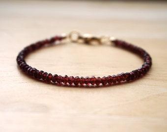 AAA Quality Garnet Bracelet, January Birthstone, Garnet Jewelry, Garnet Bracelet, Gemstone Bracelet, Thin Gemstone Bracelet