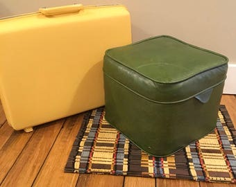 Vintage foot stool green stool mid century retro decor vinyl pouf cottage cabin country table funky shabby chic alvacoda green office child