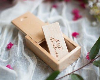 Handmade Pine wood SET / comes with 16gb flash drive and matching box   - USB / flash drives / jump drive / Engravable