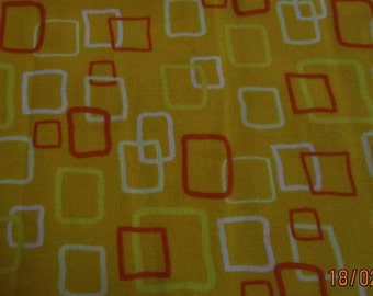 Patchwork Fabric Yellow with Orange,White and Yellow squares print