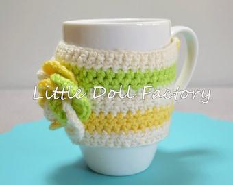 Spring colors Mug cosy, cup warmer, crochet cosy, Cup sleeve, cup cosy, Mug warmer