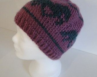 Hand-knitted wool Cap with Tolt end Iceland horses