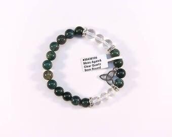 Moss Agate and Clear Quartz bracelet.