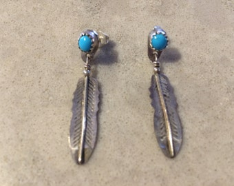 Silver and Turquoise Eagle Feather Post Pierced Earrings Vintage