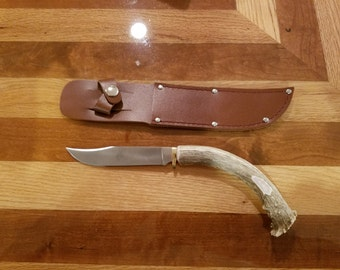 Whitetail Antler Handle Clip Point Hunting Knife