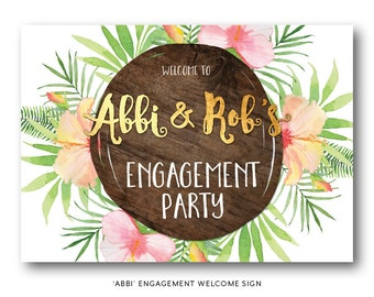 Tropical engagement welcome sign, floral engagement welcome sign, engagement welcome sign, beach, peach and gold, floral, wood (Abbi)