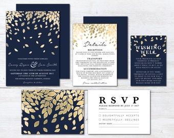 Navy and Gold Botanic Wedding Invitation Suite, Wedding Suite, Navy Blue, Blue DIY Printable Suite, Leaf, Leaves, Botanical (Falling)