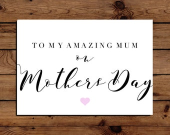 To My Amazing Mum on Mother's Day Card with Envelope A5 Calligraphy Font
