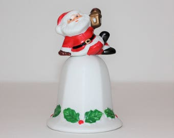 Vintage Christmas Bell,  Santa Christmas Bell, Bell With Holly, Ceramic Bell,Holly Leaf Design