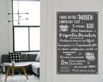 Decals wall quotes family, repositionable quality vinyl, custom poster, rules of the House, happy, respect, thank you