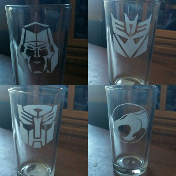 Hand Etched Sci-fi Glasses