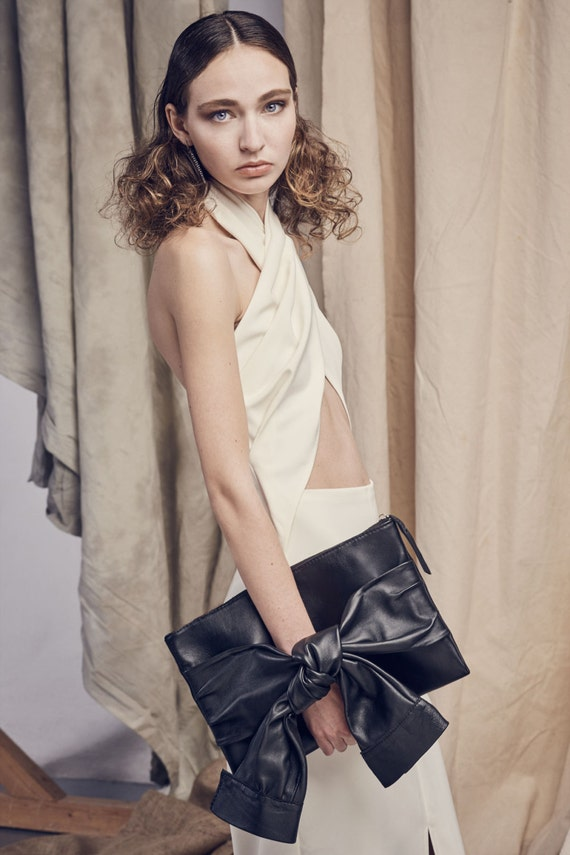 Butter soft black leather CLUTCH