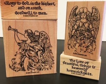 Stampin Up! stamp set of three - Heavenly Heralds - RARE 2005 retired - mounted, unused - angels, Christian theme - adoption fundraising