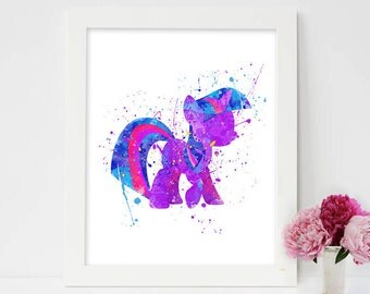 My little pony print, my little pony, my little pony art, my little pony wall art, my little pony wall decor, twilight sparkle watercolor