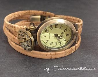 Uhr Wickelarmband Bronze Kork Blüte Weiß