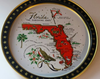 Vintage FLORIDA SOUVENIR TRAY,  Metal Serving Tray, Round Serving Tray, Florida Decor, Mockingbird