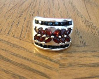 Red Garnet Silver Band Ring