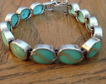Sterling Silver Inlay Turquoise Bracelet
