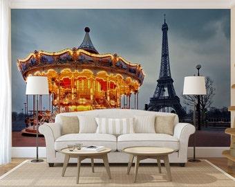 Paris wall mural, self adhesive peel and stick wall mural, wallpaper, wall sticker