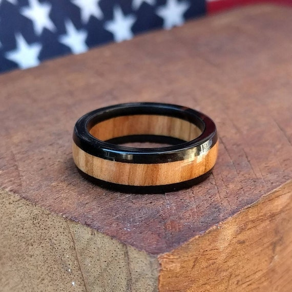 Ebony and Olivewood Wood Ring - Wooden Ring Men Wood Wedding Ring Woman Engagement Wood Anniversary