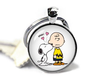 Charlie Brown and Snoopy Keychain Snoopy Key Ring Snoopy KeyFob Peanuts Fandom Jewelry Cosplay Fangirl Fanboy