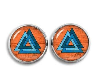 Odins Knot Stud Earrings Valknut Earrings Viking Triangles 12mm Earrings