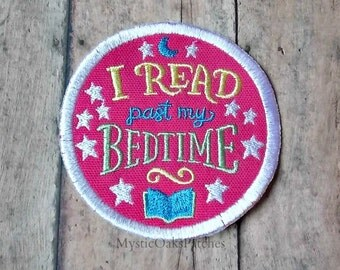 I Read Past My Bedtime Patch, Embroidered Patch, Pink