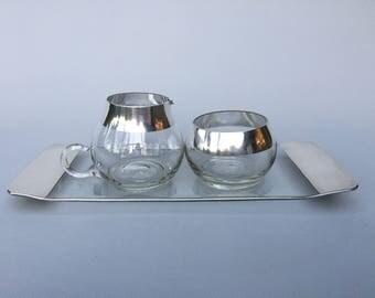 Dorothy Thorpe Silver Band Sugar Bowl & Creamer Set - Mid Century Modern