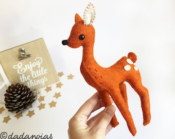 Plush Deer | Wool Felt  | Felt Deer  | Soft Toy | Deer Doll | Kawaii | Baby Deer | Fairy Tale Toy | Fawn Decor | Animal Replica  | Deer Art