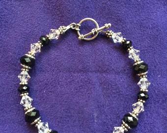 Black and White Swaravski and Silver bracelet