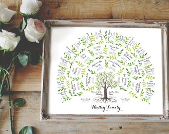 Watercolor Genealogy Family Tree Chart - 4 Generations