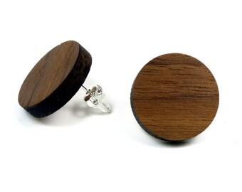 Walnut wood earrings / wood jewelry with Sterling Silver 925 earrings | Natural jewelry | Ear jewelry