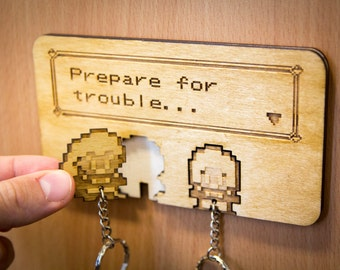 "Pokemon Inspired ""Prepare for trouble"" Team Rocket Lasercut & engraved keyring and wall mount"