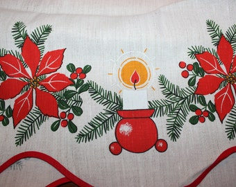 Sweet vintage retro Christmas Curtain Valance with floral and candles pattern.  Made in Sweden, Scandinavian