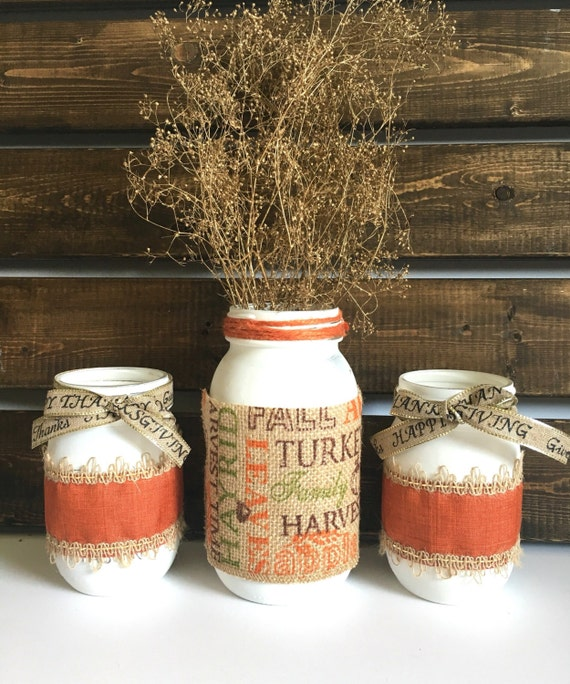 Thanksgiving mason jar decor fall