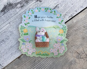 Vintage Easter Hallmark Pin, Bunny in a Basket Easter Pin, Vintage Hallmark, Vintage Hallmark Easter pin on Card