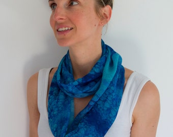 Two tone blue infinity scarf wrap throw silk-feel polyester microfiber coastal design gift for her