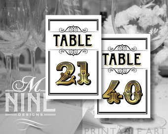 Vintage Gold Printable TABLE NUMBERS 1-20 Vintage Party Download Table Number Signs, Party Decor, Vintage Wedding Décor BWG39