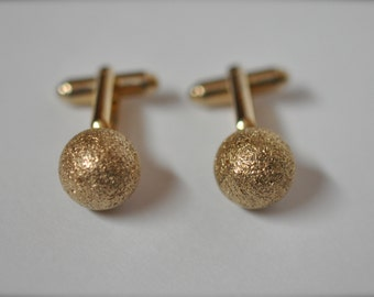 Vintage Mens Cufflinks Gold Tone Sphere