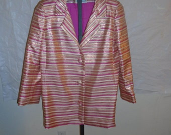 Vintage 1970's Mary-Agnes Size Large Pink & White Striped Button Down Satin Coat