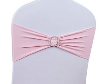 Baby Pink Elasticity Stretch Chair cover Band with Buckle Slider Sashes Bow Decor